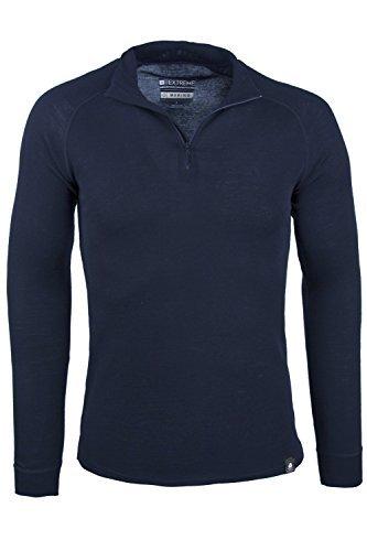 Mountain Warehouse Camiseta térmica Interior en Lana Merina con Manga Larga para Hombre - Camiseta Transpirable, Media Cremallera, Camiseta cómoda - para Acampar, Invierno Azul Marino S