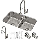 Kraus KCA-1200 Ellis Kitchen Sink and Faucet, Spot Free Stainless Steel