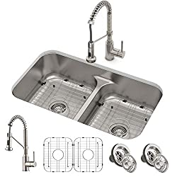 Kraus KBU24 32 inch Undermount Double Bowl Stainless Steel Kitchen Sink