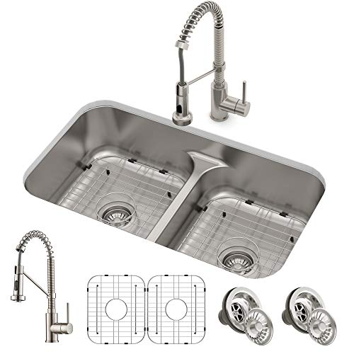 "Kraus KCA-1200 Ellis Combo Set with 33"" 16 Gauge Undermount Sink and Bolden 18-inch Pull-Down Commercial Style Kitchen Faucet, Spot Free Stainless Steel Florida"