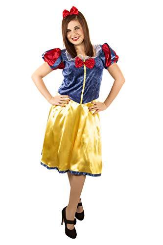 Verwen jezelf. Sneeuwwitje kostuum voor dames volwassenen speciaal voor kostuumfeesten en carnaval, eenheidsmaat, Eén maat