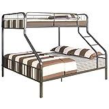 Pemberly Row Twin XL-Over-Queen Metal Bunk Bed in Gunmetal, Space Saving Design