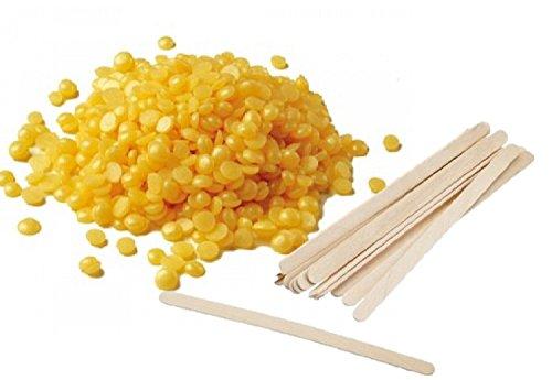 Perles de cire chaude + mini spatule en bois fabriquée en Italie pour épilation sans bandes dépilatoires (250 g, jaune-miel)