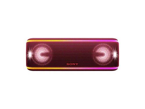 Sony SRS-XB41 kabelloser Bluetooth Lautsprecher (tragbar, mehrfarbige Lichtleiste, Lautsprecherbeleuchtung, Stroboskoplicht, NFC, kompatibel mit Party Chain, Freisprechfunktion für Anrufe) rot