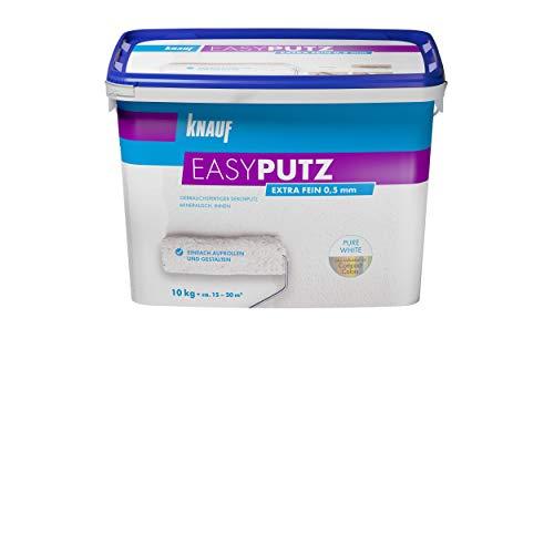 Knauf 89133 Extra Fein 10 kg 0,5 mm EASYPUTZ, Körnung, schneeweißer, mineralischer Dekorputz, hochwertig, zum einfachen Aufrollen auf Wand oder Decke im Innenbereich, atmungsaktiv