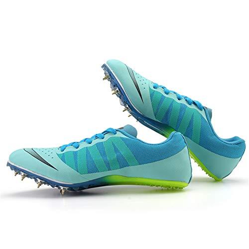YPPDSD Unisex Leichtathletik Spikes, Professionelle Sprint Leichtathletik Schuhe Wettkampfnagel Schuhe Paar Outdoor Laufschuhe,Blau,39