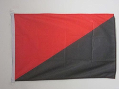 AZ FLAG Bandera del ANARQUO SINDICALISMO 90x60cm Uso Exterior - Bandera ANARQUO SINDICALISTA - ANARQUIA 60 x 90 cm Anillos