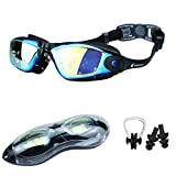 SPEEDVIO Swim Goggles (Latest 2021 Improved Ergonomic Design) with Additional Nose Clip, Ear Plugs and Protective Case, Anti-Fog Auto-Defogger Indoor and Outdoor Stylish Mirrored Swimming Goggles with UV Protection, Clear Large Wide View Leakproof Swimming Goggles with Detachable Clip and Adjustable Elastic Strap, Perfect For Adult Men Women Boys Girls Teen Child Junior Kids