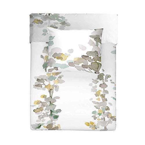 Walra Mako Satin Bettwäsche 3 teilig Bettbezug 200 x 240 cm Kopfkissenbezug 60 x 70 cm Autumn Leaves Weiß 1207979
