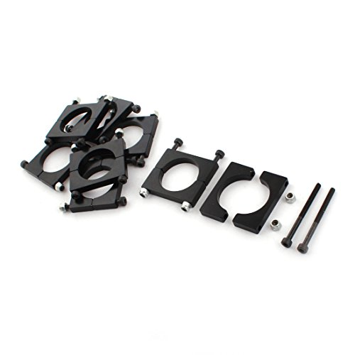 uxcell 8 Pcs 25mm Black Aluminum Clamp for Carbon Fiber Tube RC Hexrcopter