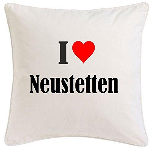 Kissenbezug I Love Neustetten 40cmx40cm aus Mikrofaser geschmackvolle Dekoration für jedes Wohnzimmer oder Schlafzimmer in Weiß mit Reißverschluss
