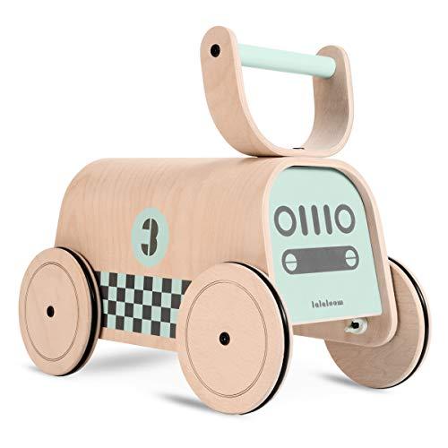 Lalaloom RACER - Andador para bebe de madera natural (diseño coche de carreras, correpasillos para equilibrio, juguete, caminador con ruedas), 47x23x37 cm, color Verde