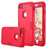 LONTECT for iPhone 7 Plus Case Hybrid Heavy Duty Shockproof Full-Body Protective Case with Dual Layer [Hard PC+ Soft Silicone] Impact Protection for Apple iPhone 7 Plus - Red