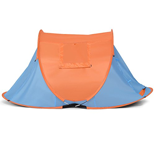 Tangkula Portable Automatic Pop-up Tent Water Resistant & UV Protection Camping Hiking Carry Bag (Orange, Blue)