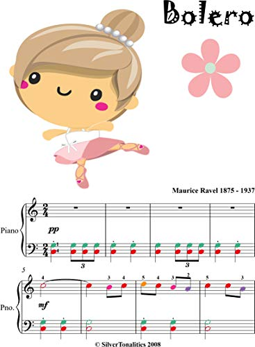 Bolero Easy Piano Sheet Music with Colored Notes (English Edition)