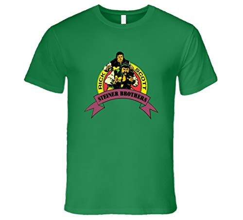 The Steiner Brother Rick and Scott Retro Classic Rare Wrestling T-Shirt Irish Green Gr. 56, braun