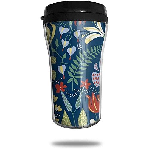 Baum Art-Flower Travel Kaffeetasse 3D gedruckt tragbare Saugnapf, isolierte Teetasse Wasserflasche Becher zum Trinken mit Deckel 8,54 oz (250 ml)