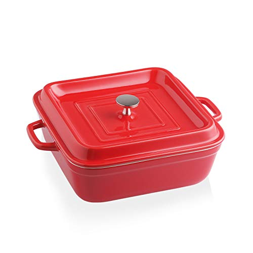 SWEEJAR Ceramic Casserole Dish with Lid, 2.5Quart Square Lasagna Pan for Cooking, Dinner, Kitchen, 12.4 x 10.1 x 3.3 Inches (Red)