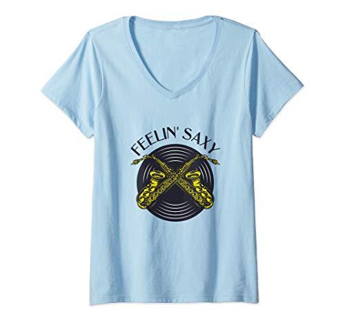 Damen FEELIN' SAXY - Saxofon Geschenk, lustiges Saxophon T-Shirt mit V-Ausschnitt