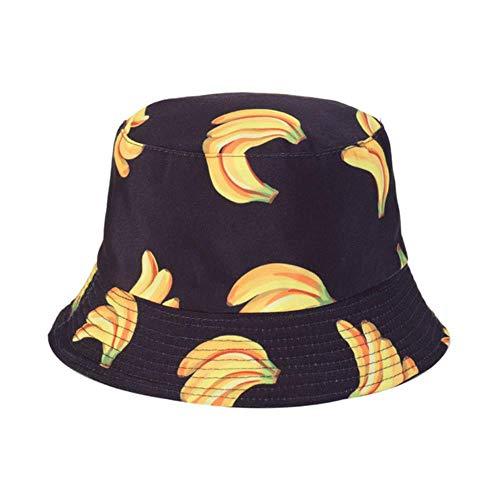 Sommer Panama Eimer Hut Becken Kappe Frauen Druck Sonnenhüte Visier Männer Doppelseite Hip Hop Outdoor Fischerhut, schwarz, 56-58cm