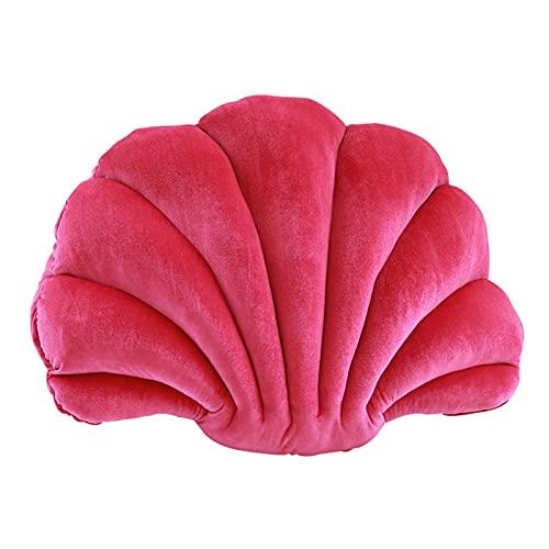 Almohada de terciopelo para respaldo de silla, cojín de asiento de oficina, almohada decorativa con temática del océano para el hogar, color rojo rosa, 32 x 25 cm