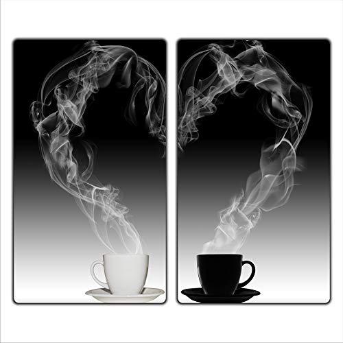 Kaffee 2 Set Glas Abdeckplatte 2x30x52 Schneidebrett Herdabdeckplatte