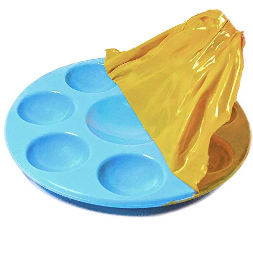 Kit's Inventive - Nonstick Palette for Toddler/Kid Light Blue Unbreakable Synthetic Rubber [ 8 Well ] Easiest to Clean, Safest & Long Lasting