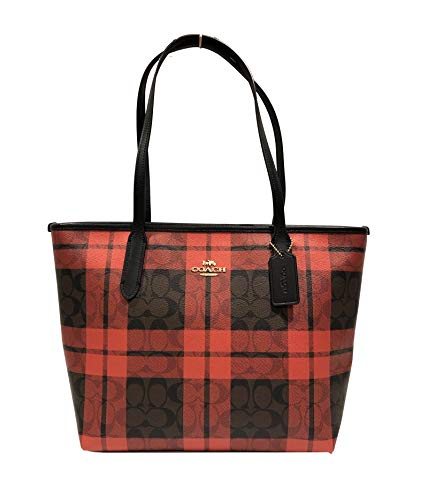 Coach Cross Grain Leather City Zip Tote Bag Purse (IM/Brown Red Multi)