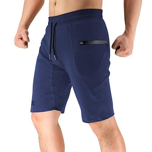 BROKIG Men's Sidelock Gym Workout Running Sport Shorts with Zipper Pockets (Medium,Navy)