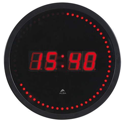 Alba HORLED - Reloj de pared con ledes, color negro y rojo