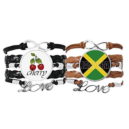 Bestchong Pulsera con nombre de la bandera de Jamaica, cuerda de cuero, juego doble