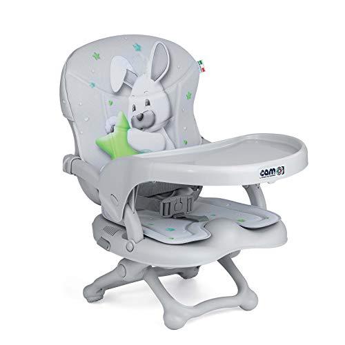CAM Sitzerhöhung SMARTY POP | Flexibler Boostersitz & Reisekindersitz Kinder & Kleinkinder | faltbar & höhenverstellbar | 4 Höhen (0-18 cm) | Universal-Befestigung am Stuhl (Bezug Häschen)