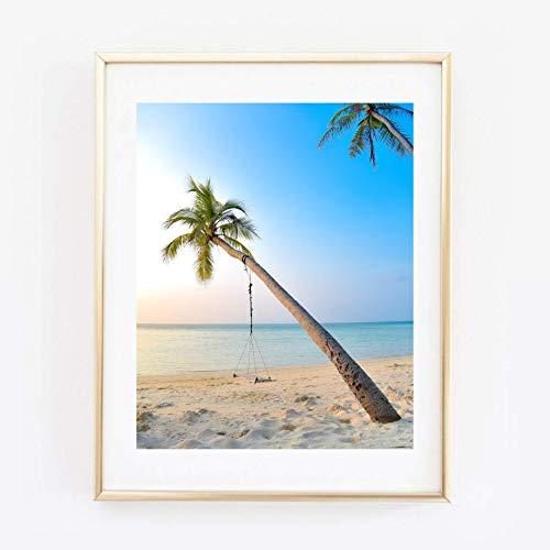 Din A4 Kunstdruck ungerahmt Strand Palmen Schaukel Tropisch Tropen Südsee Sommer Natur Foto Fotokunst 21x30 cm Druck Poster Bild