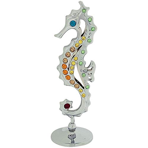Crystocraft Keepsake Gift Ornament Silver Sea Horse with Swarovski Crystal Elements