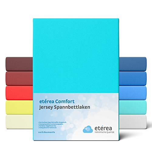 etérea Comfort Jersey Fitted Sheet in Various Sizes and Colours – Soft Fitted Sheet Made from 100% Cotton, Flat Sheet with Approx. 25 cm Base Height and 140 g/m2, Cotton, ocean, 90x200 - 100x200 cm