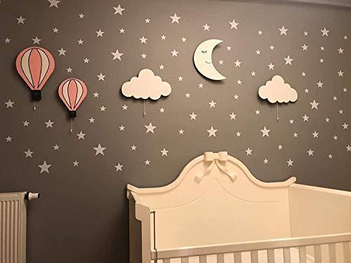 Kwekerij Jongens Meisjes Baby Kids Kamer Decor Kwekerij Wandlamp Set van 5 Houten Nachtlampje met LED, 170st Zilveren Ster Muurstickers Gift!