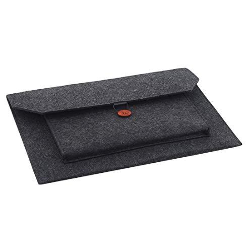 N/A Portable Computer Liner Bag Tablet Housse de Protection pour Ordinateur Portable Notebook Shroud Felt Box Protection Sack Office Business Document Handbag (Dark Grey 15.6-inch)