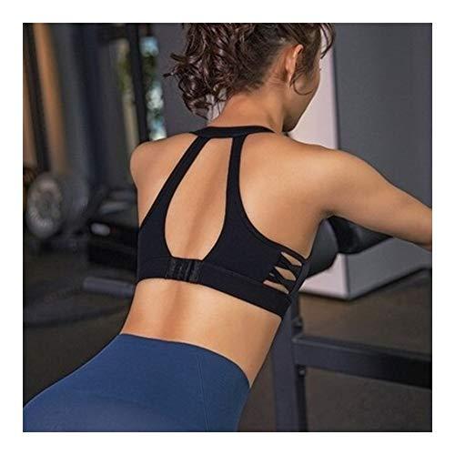 KAKAYO Deportes Bra Top Mujeres Ahueca hacia Fuera el Acolchado Yoga Fitness Gym Bras Bra Tapas de la Cosecha (Color : Black, Size : L)