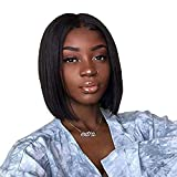 Beauty On Line Short Bob Wigs Brazilian Straight Lace Front Human Hair Wigs For Black Women Pre Pucked Natural Hairline Natural Color (12 inch, Bob Wigs)