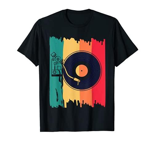 Disco Jokey DJ Musica Retro Vinile Record Musica Maglietta