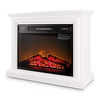 Belleze 3D Infrared Electric Fireplace Stove 31inch With Remote Control (White) Portable Indoor Space Freestanding Heater – 1400W with Long Glass View