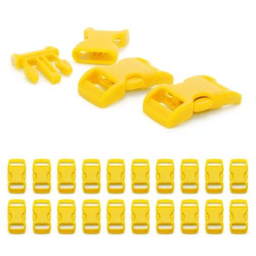 """Fermoir à clip en plastique, idéal pour les paracordes (bracelet, collier pour chien, etc), boucle, attache à clipser, grandeur: 3/8"""", 29mm x 15mm, couleur: jaune, de la marque Ganzoo - lot de 20 fermoirs"""