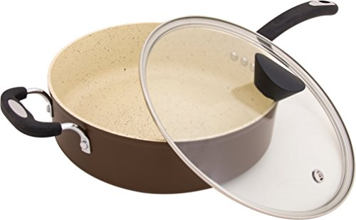 Ozeri Stone Earth All-in-One Sauce Pan 100% APEO, GenX, PFBS, PFOS, PFOA, NMP and NEP-Free German-Made Coating, 5 L (5.3 Quart), Coconut Brown