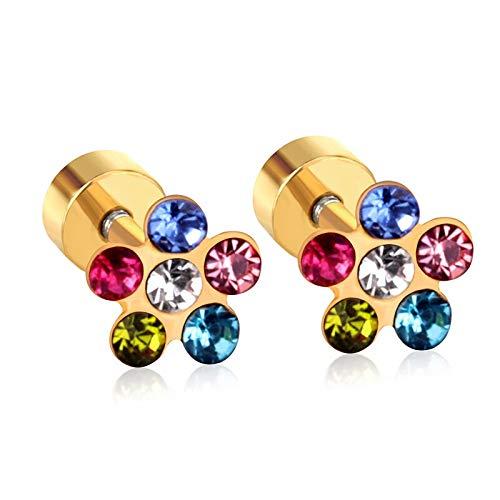 SMXGF Baby/Girl/Dames Oorbellen Goud/Zilver Maat 6mm Kleurrijke White Crystal Anti-allergie Schroef Flower Stud Earring Small (Color : Gold)