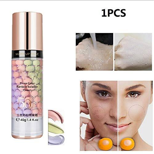 SNKAP Base De Maquillage Tricolore Arc-en-Ciel De 40 ML, Crème D'isolation Hydratante Fond De Teint Correcteur De Base, Maquillage Correcteur Nude Couverture Durable Anti-cernes (1PCS)