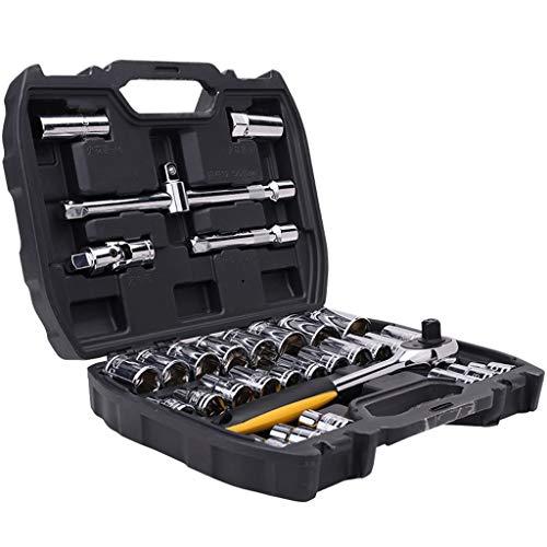 Caja de herramientas 32 piezas de reparación Juego de dados de Cajas de herramientas de coches Juegos de herramientas portátil de gran capacidad de reparación de herramientas cofres multifuncional máq