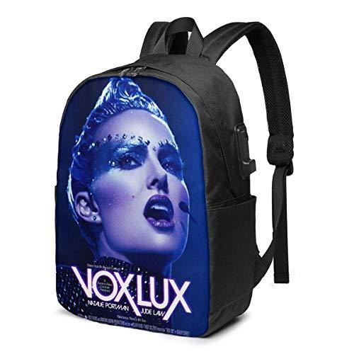AOOEDM USB Backpack 17 in Vox Lux (2018) Natalie Portman USB Backpack 17-Inch Laptop Backpack Firm Bottom Men and Women Business Travel Bag