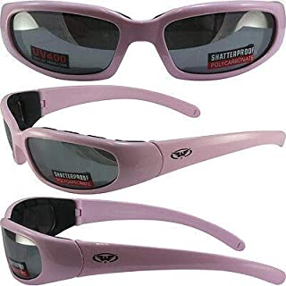 Chicago 3 Padded Sunglasses Pastel Pink Frames Flash Mirror Lens