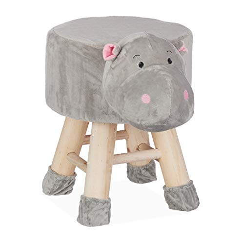 Relaxdays Hipopótamo Taburete Infantil Animal Forma Funda Extraíble, Madera, 34,5 X 28 cm