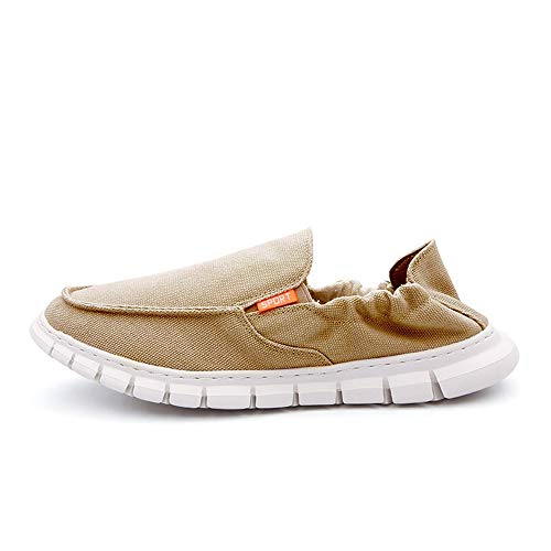 BABAYA Men's Slip-On Walking Loafers Casual Comfort Fashion Sneaker Lightweight Comfortable Soft Outdoor Boat Shoes (9, Beige)